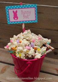 Easter snack mix - I think Id have to swap out the chocolate for almond bark, and the m for pastel marshmallows...nix the sprinkles.  Looks pretty the way she has it though.