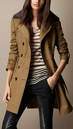 Shearling Collar Resinated Trench Coat
