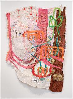 Embroidery and machine stitching on found fabric