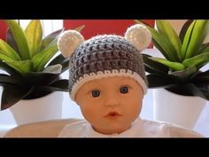▶ Crochet Baby Beanie with Ears - Crochet Bear Ears - YouTube