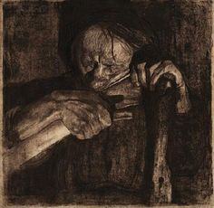[Sharpening the Scythe]  Kathe Kollwitz,  Etching/aquatint