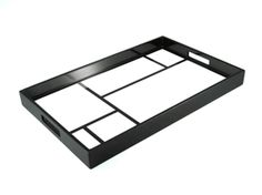 """Limited Production Design: Black & White High Gloss Breakfast Tray  22"""" x 14"""" * Only Available For Contracts Orders"""
