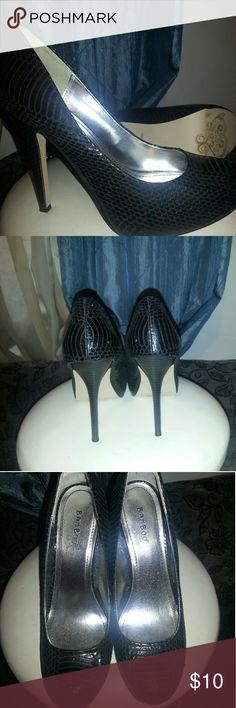 "Ladies heels Black faux snakeskin hidden platform Stiletto Pumps   shoe name ""office"" size nine 4 1/2 inch heel bamboo Shoes Platforms"