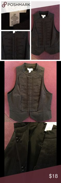 LOFT tailored Vest with embroidered detailing Black vest with embroidered detailing on front. Closes with hook and eye closure. Tailored fit. LOFT Jackets & Coats Vests