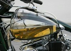 Transparent fuel tank! How cool! #mancave #triumph #oldschoolbiker #bikelife…
