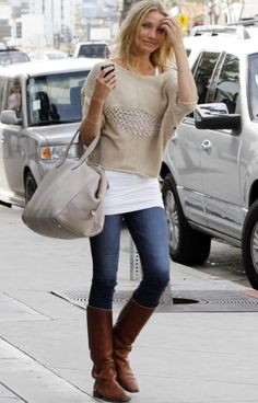 skin jeans, boots, long white tank & cropped nude sweater. I have all this!