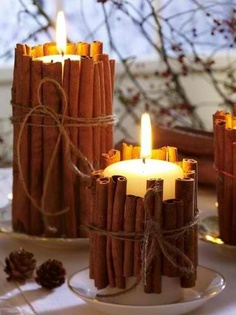 i love this idea! Cinnamon stick centerpieces