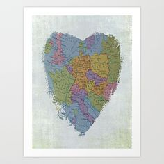 I'm In Love With Cities I've Never Been To Art Print by Ally Coxon - $20.00