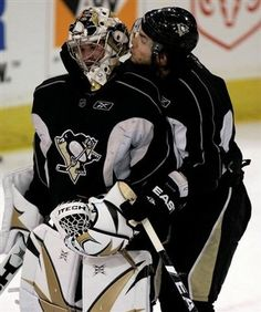 @Jaime Wolf, thought u would like this  haha Marc-Andre Fleury & Kris Letang Bromance<3
