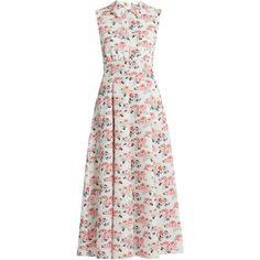 Emilia Wickstead Fabiola floral-print midi dress (21.395.135 IDR) ❤ liked on Polyvore featuring dresses, pink white, floral midi dress, a line dress, floral print dress, mid calf dresses and white floral dress