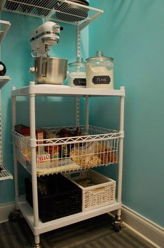 Make a moveable baking station.  Wheel it all out when you're ready to bake & stow it away when you're done.