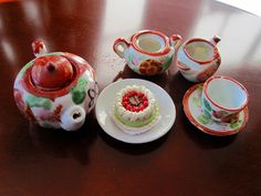Antique Miniature Tea Set Red and White Hand by Latrouvaille