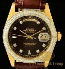 Excellent 18K Y.G. Rolex President with Custom Diamond Dial & Bezel Ref. 18038