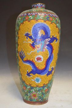 Chinese Cloisonne Bronze and Enamel Meiping