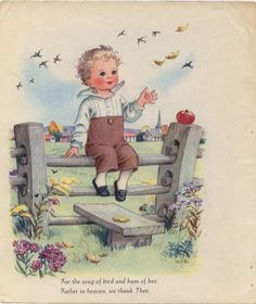 Lovely Vintage Illustration of Little Boy with by ankiradesign