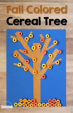 Cereal Fall Tree Craft - this is such a fun, simple-to-make fall craft for kids from toddler, preschool, kindergarten,