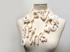 Crochet Lariat Necklace - Freeform Scarflette - Cream White Flowers and Leaves with Light Brown Glass Pearls - ZOE