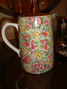 """Vintage Chintz Pitcher...    Mixing the """"OLD"""" with the """"NEW"""" is what """"WE DO"""" !!!"""