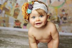 Golden sunrise rosette headband Matilda Jane by CozetteCouture