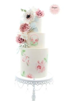 Hand painted cake with roses, peony and anemone - by Aimeejane Cake Design Beautiful Wedding Cakes, Gorgeous Cakes, Pretty Cakes, Amazing Cakes, Hand Painted Cakes, Just Cakes, Rose Cake, Wedding Cake Inspiration, Occasion Cakes