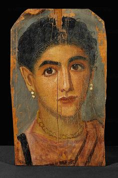 Portrait of a young woman from the Fayum Cemetery. Around 161-180, period of the Antonines. Encaustic on wood, 33 x 20 cm P 212 #encaustic #painting