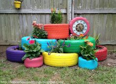 Though there's nothing very exciting about old tires, some wooden slats and a few coats of colorful spray paint can miraculously transform them into delightfully cheery backyard planters. Get the tutorial at Lemon, Bean and Things.