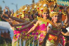 A number of artists were Dance of Dewi (Goddess) Saraswati at Culture Festival IX Badung Regency 2015 in Mangupura, Bali.