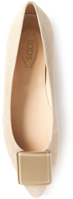 $340, Beige Suede Ballerina Shoes: Tod's Buckled Ballerinas. Sold by farfetch.com. Click for more info: https://lookastic.com/women/shop_items/41730/redirect