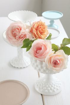 pink roses in milk glass Pink Roses, Pink Flowers, Vintage Country Weddings, Pink Princess, Retro Furniture, Glass Collection, Rustic Chic, Milk Glass, Flower Arrangements