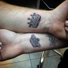 Crown matching tattoos for couples. Matching Tattoos, Lion Tattoo, Jimmy Choo Shoes, Couple Tattoos, Fashion Over 40, Women's Fashion Dresses, Street Style Women, Color Combos, Initials