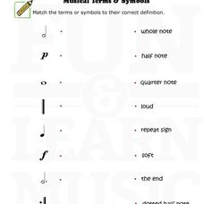 Basic musical terms for young students.