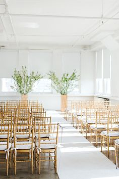 Simple gold chairs: http://www.stylemepretty.com/2015/06/27/wedding-decor-to-up-your-aisle-style/