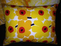 "Handmade 12""X16"" Pillow Cushion Case Cover Mini Unikko Yellow Easter Marimekko"