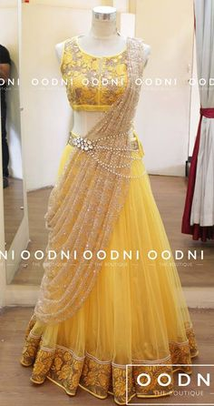 Sari style lehenga with waist chain Mehr Half Saree Designs, Lehenga Designs, Choli Designs, Blouse Designs, Indian Wedding Outfits, Bridal Outfits, Wedding Dresses, Indian Gowns Dresses, Unique Dresses