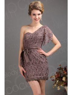 New Arrival Sheath Column One Shoulder Short Mini Lace Brown Party Dress COLM1300A  $99.99  Party Dress, Party Dress, Party Dress, Party Dress, Party Dress, Party Dress, Party Dress