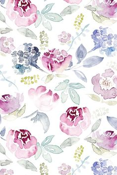Watercolour Florals Vintage Faded Style by sylviaoh - Hand painted watercolor florals on fabric, wallpaper, and gift wrap.  Hand painted whimsical floral pattern in a painterly style.