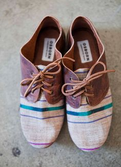 Striped canvas oxfords.