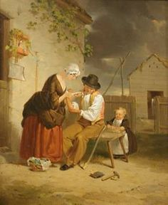 First-Aid, Francis William Edmonds, circa 1840-1845, oil on canvas, 17 in. x 14 in. Currier Museum of Art.