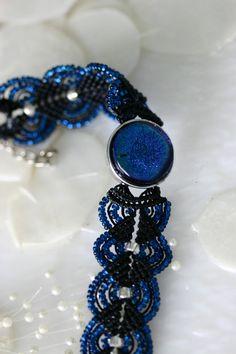 Micro Macrame with Dichroic Glass Bracelet BL0020 by GetGlassy