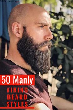 "The concepts of ""Vikings"" and ""beards"" are pretty much synonymous at this point. After we showed our appreciation for Viking hairstyles, we're back with the ultimate guide for Viking beard styles to g Viking Beard Styles, Long Beard Styles, Beard Styles For Men, Hair And Beard Styles, Short Hair With Beard, Mens Hairstyles With Beard, Bald With Beard, Viking Hairstyles, Shaved Head With Beard"