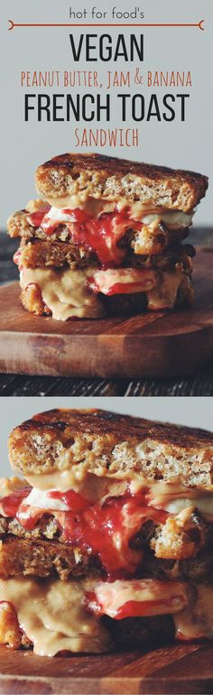 vegan peanut butter, jam & banana french toast sandwich | RECIPE by hot for food (Sandwich Recipes)