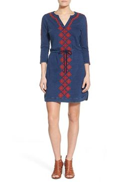 Lucky Brand Embroidered Drawstring Waist Dress available at #Nordstrom