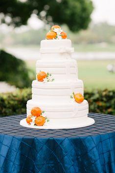 Orange, Navy Blue, and white citrus adorned wedding cake Orange wedding inspiration 4 Tier Wedding Cake, Fondant Wedding Cakes, Elegant Wedding Cakes, Wedding Cake Designs, Orange Wedding Colors, Orange Weddings, Yellow Wedding, Summer Weddings, Orange Flowers