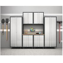 NewAge Products Bold Diamond Plate Series 7 Piece Welded Steel Cabinet Set with 2 Door Base Cabinets