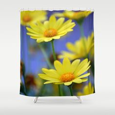 Yellow Daisies Blues Shower Curtain by RichCaspian - $68.00 #shower #curtain #daisies #daisy #blue #yellow #blue #yellow #photography #macro #dslr #pretty #flowers #floral #bathroom #bath #decor #home #living