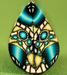 Blue and Yellow Polymer Clay Fancy Petal Cane by ikandiclay, $5.25
