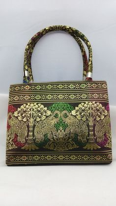 Handbag Women Thai Silk Elephant Synthetic Tote Bag #MoreServices #HandBag