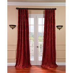 Astoria Red/ Bronze Faux Silk Jacquard Curtains - Overstock™ Shopping - Great Deals on EFF Curtains