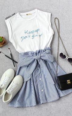 Contrast Self Tie Vertical Striped 2 in 1 Dress