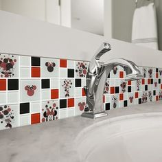 Shop for Disney Minnie Red Glass Mosaic Wall Tile. Get free delivery On EVERYTHING* Overstock - Your Online Home Improvement Shop! Get in rewards with Club O! Mosaic Glass, Home Improvement, Disney Kitchen, Mosaic Wall Tiles, Mosaic Wall, Mickey Mouse Bathroom, Mickey Mouse Kitchen, Disney Bathroom, Disney Room Decor